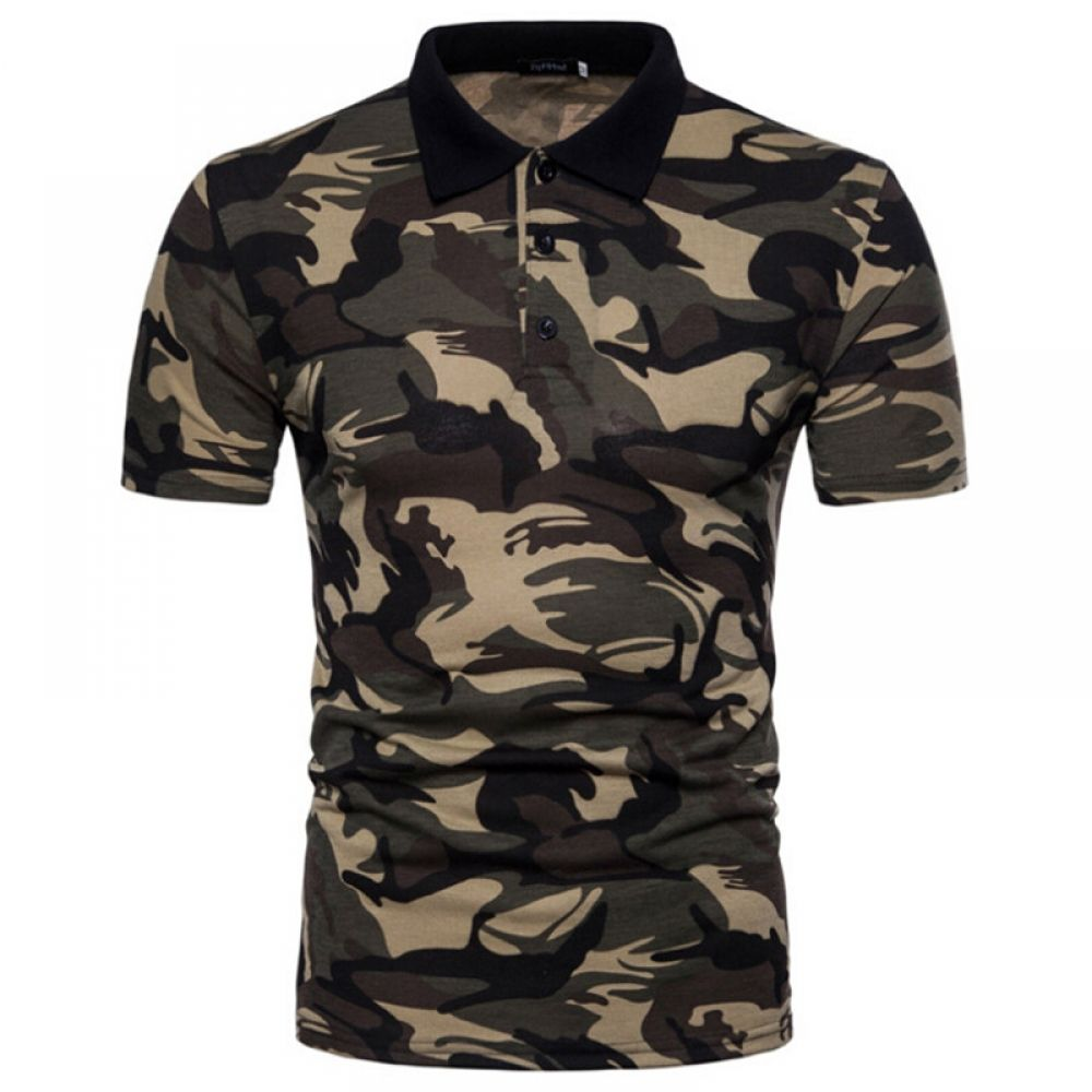 Men Polo Camouflage Shirt Short Sleeves Casual Attire Regular Fit Quick Dry Wear