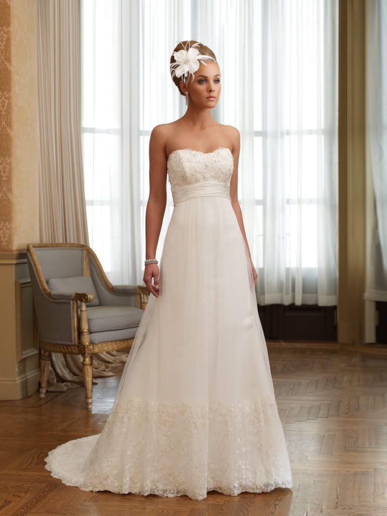 Empire Waist Wedding Dresses with Beading