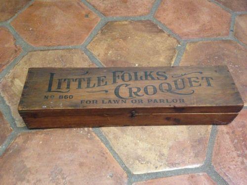 Antique-1880-039-s-Children-039-s-Croquet-Set-Little-Folks-Croquet-No-860-Toy-Game