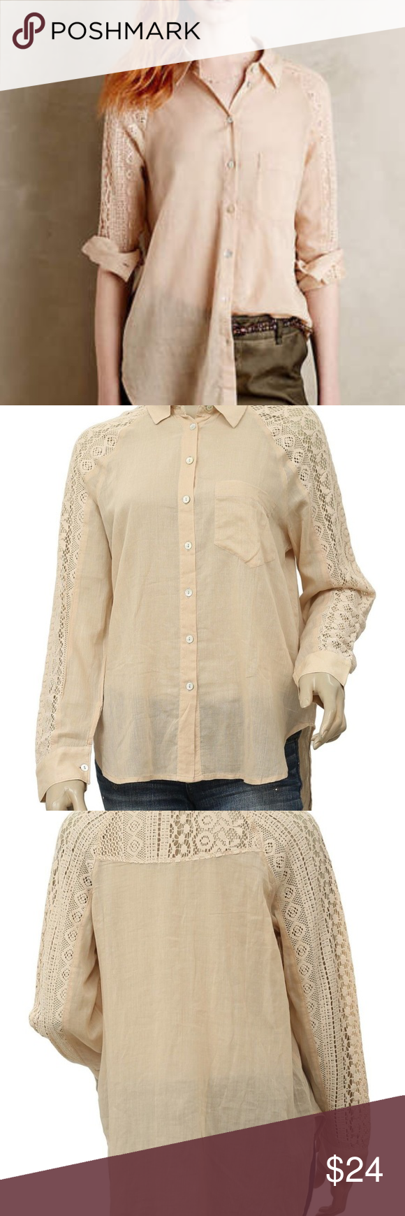 Anthropologie Holding Horses Lace Button Shirt Top My Posh Closet