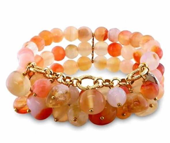 Contemporary Multicolor Quartz Charm and Peach Agate Beaded Stretch Bracelet Design for Jewelry Gift Ideas by Julie Leah