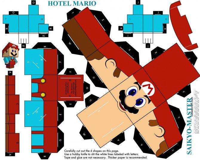Hotel Mario Papercraft Personagens Do Mario Irmaos Mario E