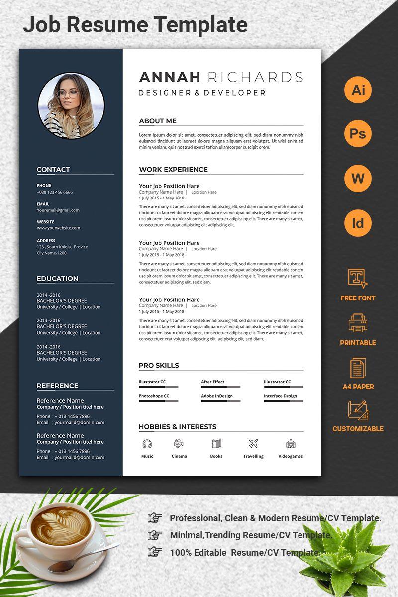 Minimal Word CV Resume Template in 2020 Cv resume