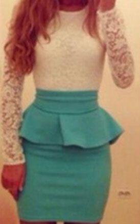Contrast Lace Peplum Waist Bodycon Green Dress