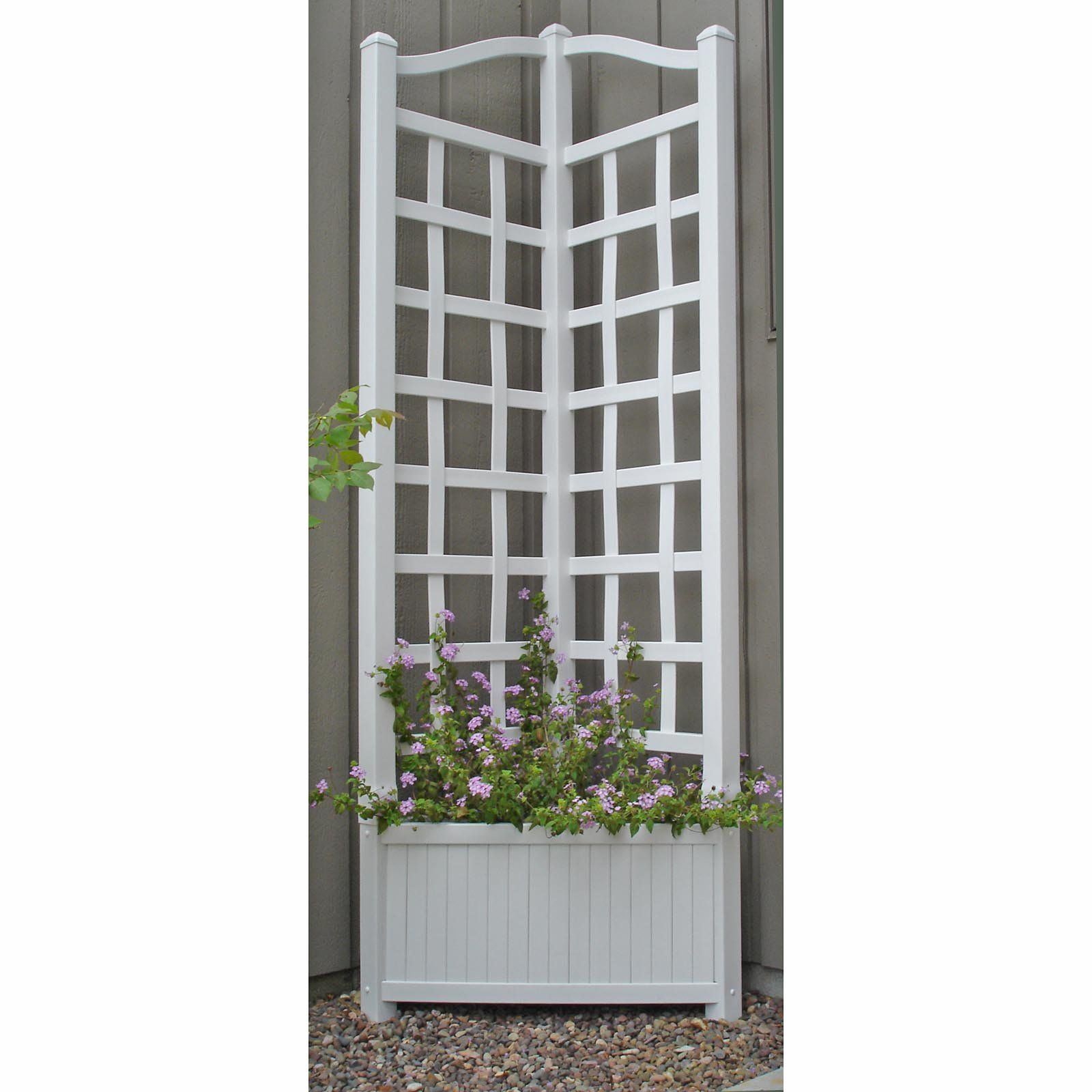Wooden Planter With Trellis... Great Idea For Patio Corner Post!