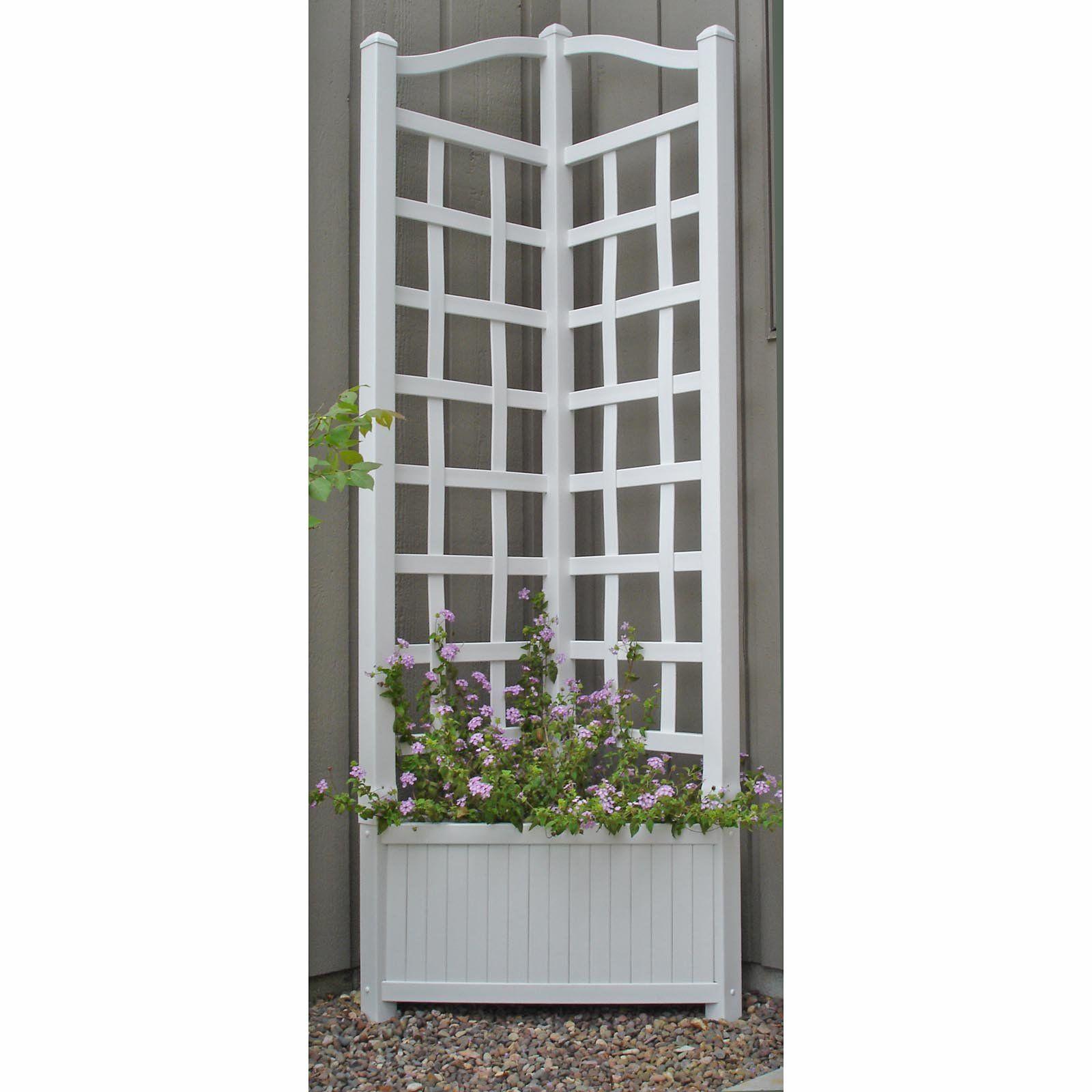 Corner Trellis Ideas Part - 27: Wooden Planter With Trellis... Great Idea For Patio Corner Post!