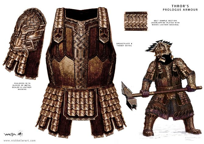 Thror's Prologue Armour - The Hobbit, part I - A selection of concept design from the first installment of The Hobbit: An Unexpected Journey, Chronicles: Art and Design - The Art of Nick Keller