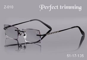 Faceted & jeweled rimless eyeglasses
