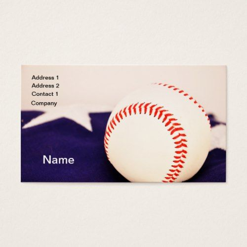 Baseball By American Flag Business Card