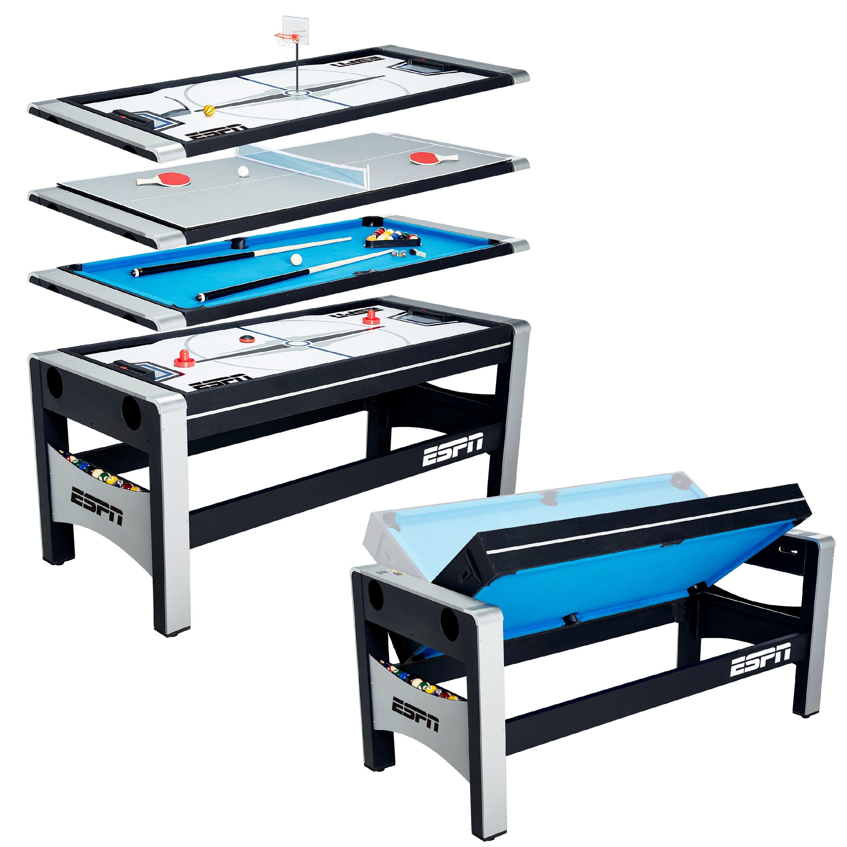 """ESPN 72"""" 4 in 1 Swivel Combo Game Table, Accessories"""