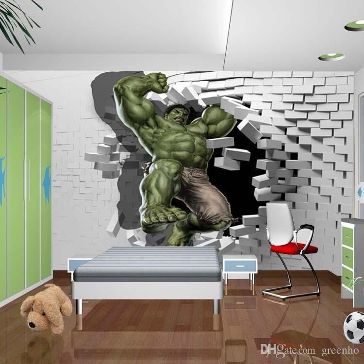 Superb 3d Avengers Photo Wallpaper Custom Hulk Wallpaper Unique Design Bricks Wall  Mural Art Room Decor Painting Wall Art Kidu0027S Room Bedroom Home Dropship, Buy  ... Design Inspirations