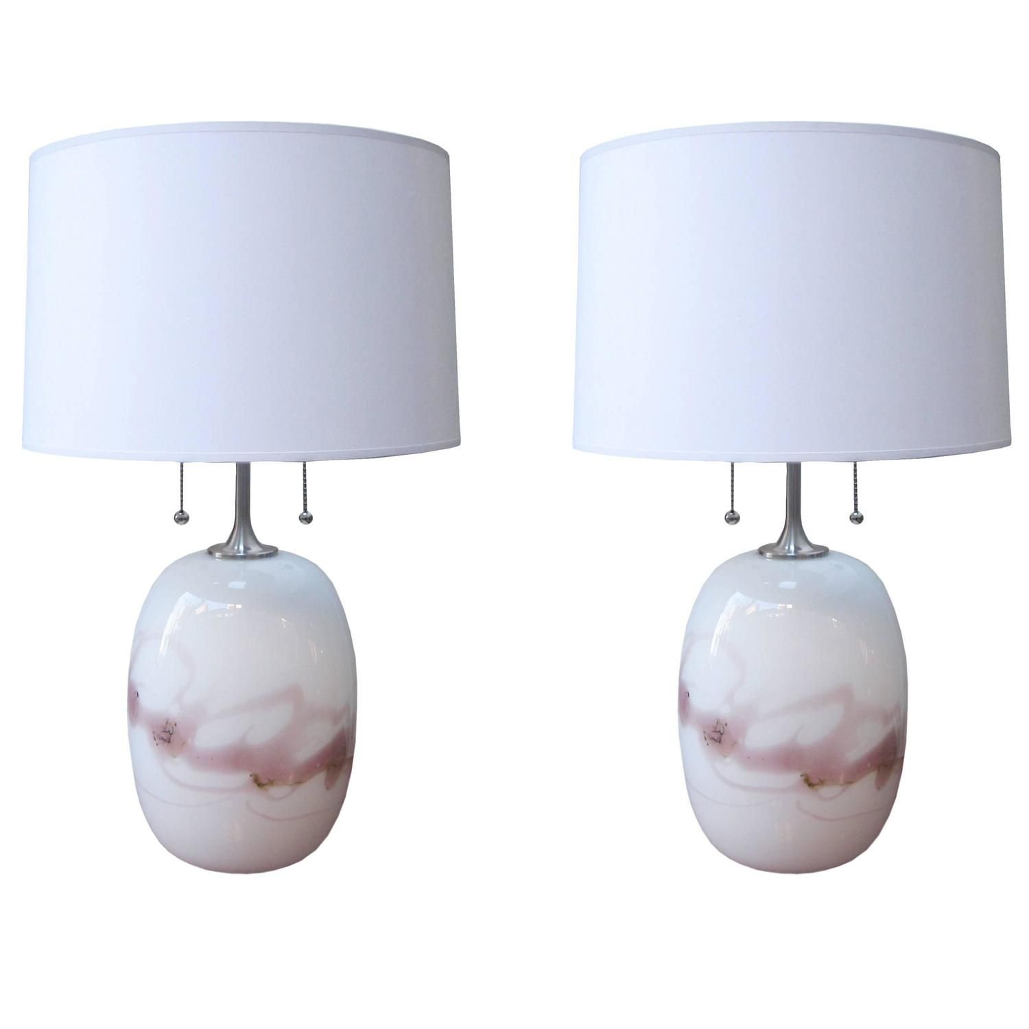 Pair Of Holmgaard Modernist Glass Table Lamps - From A