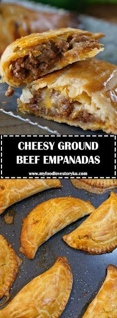 CHEESY GROUND BEEF EMPANADAS - No jalapeños or slap seasoning. 2 packs empanada dough-Woburn-Qdoba queso/saffron rice, black beans #groundbeefrecipes