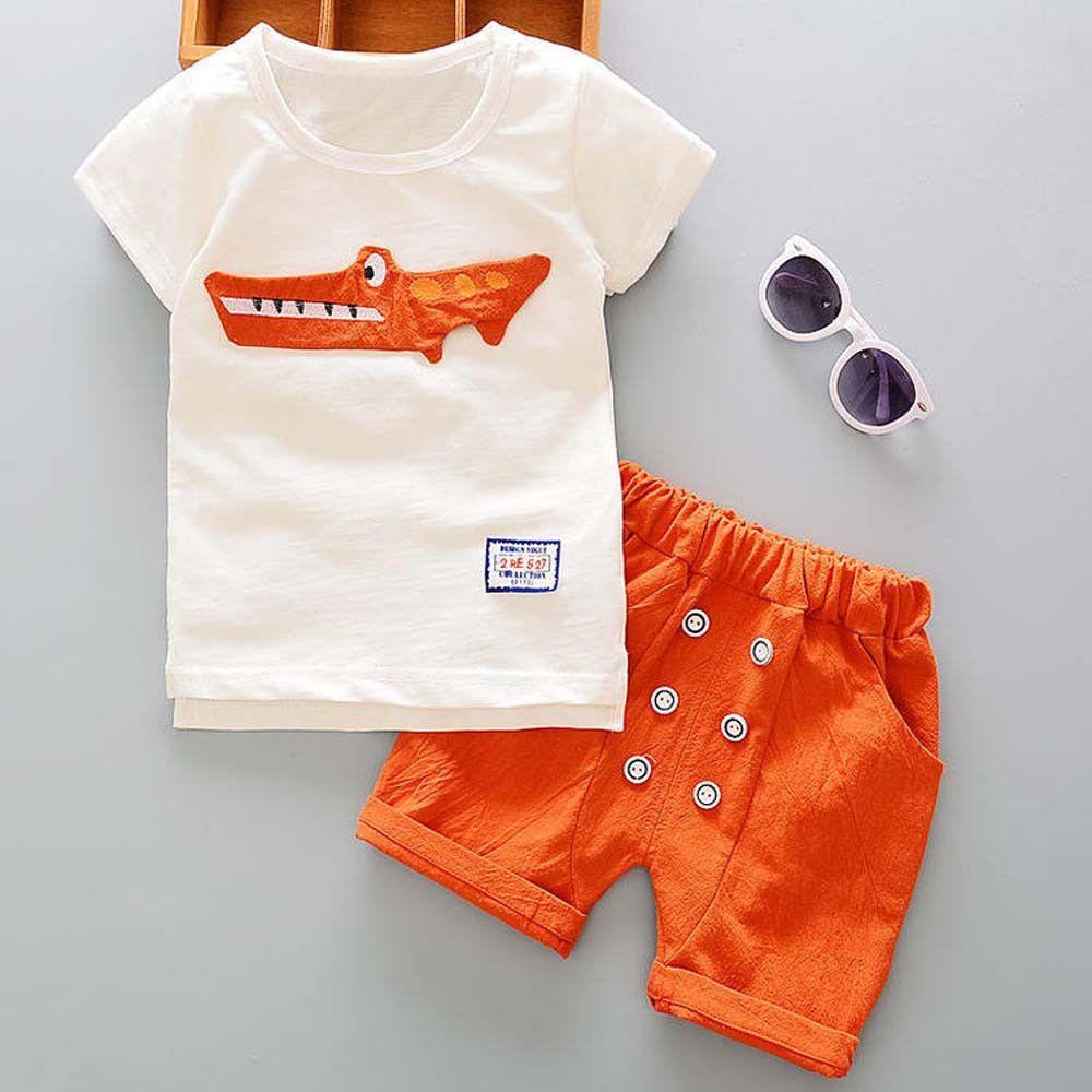 NEW Toddler Kids Cartoon Boys Summer Short Sleeve T-Shirt Top Pants Clothes Set