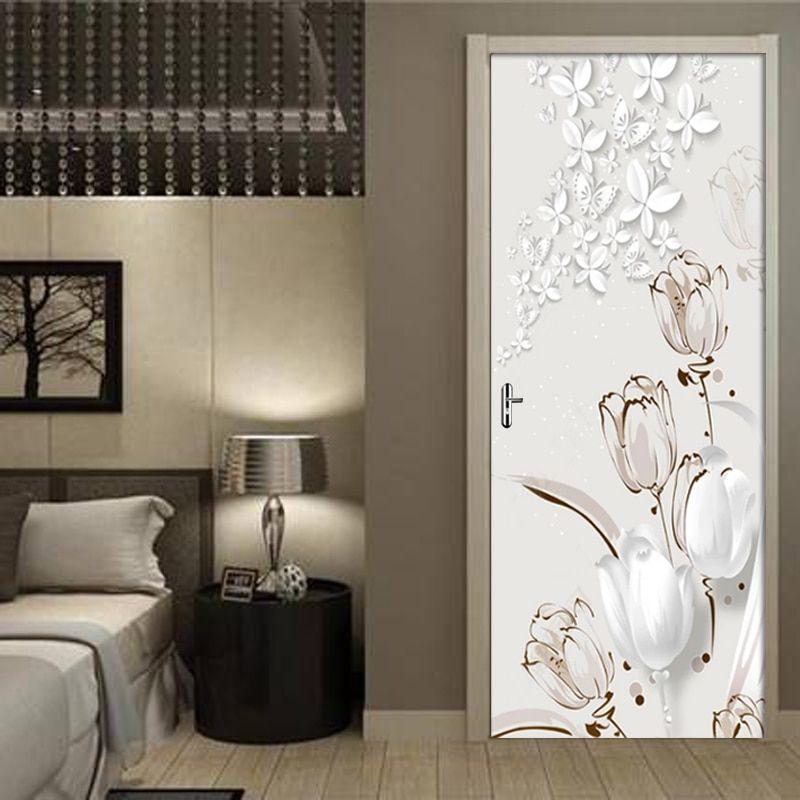 Pvc Self Adhesive Waterproof Door Wall Sticker 3d Tulip Stereo Butterfly Wallpaper 3d Door Mu Door Murals Home Decor Door Wall