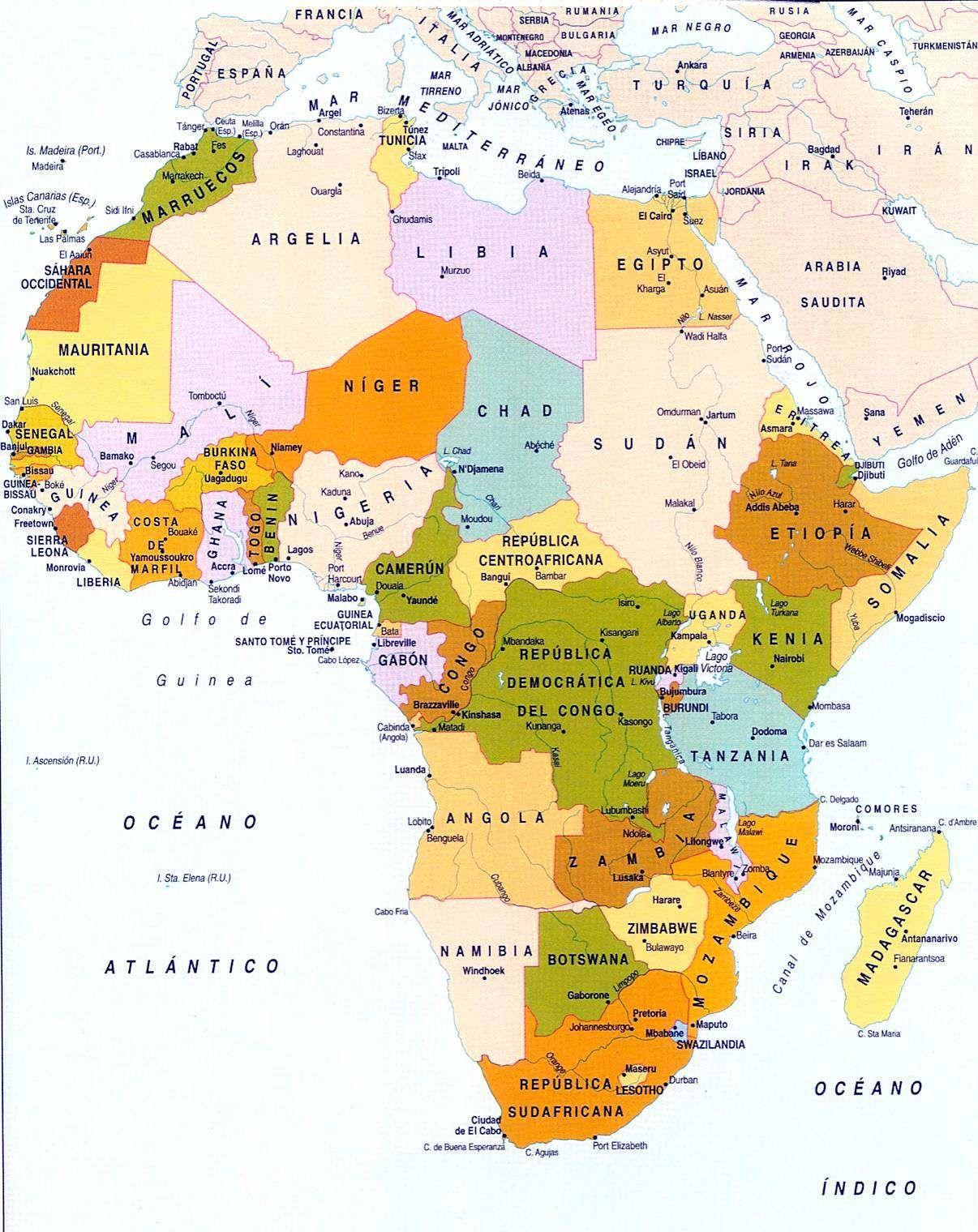 Mapa Politico De Africa Grande Con Paises Y Capitales Con