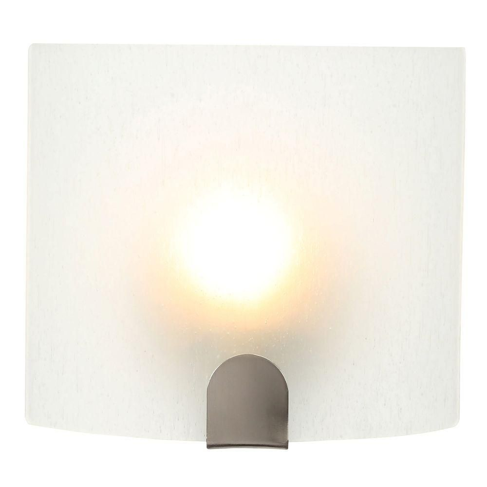 Hampton Bay 1-Light Brushed Nickel Sconce-EMC8451A-5 - The Home Depot
