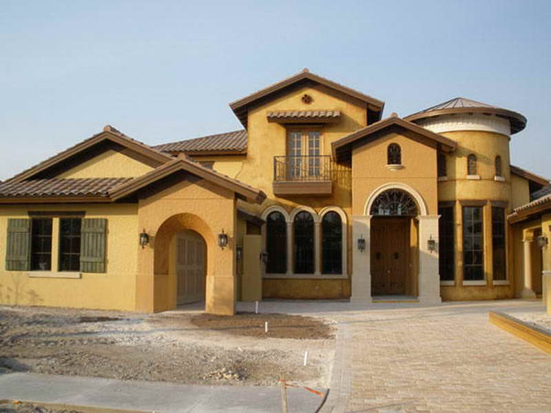 Amazing Earth Tone House Colors With Yellow Color Two Story Unique Arm Swing Lights Good Windows And Brick Floor