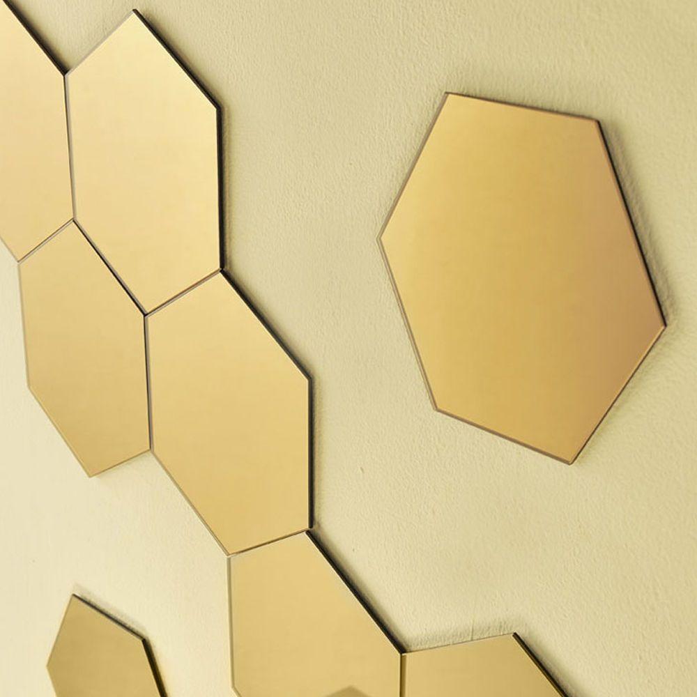 12Pcs 3D Mirror Geometric Hexagon Acrylic Wall Sticker Decor Art DIY ...