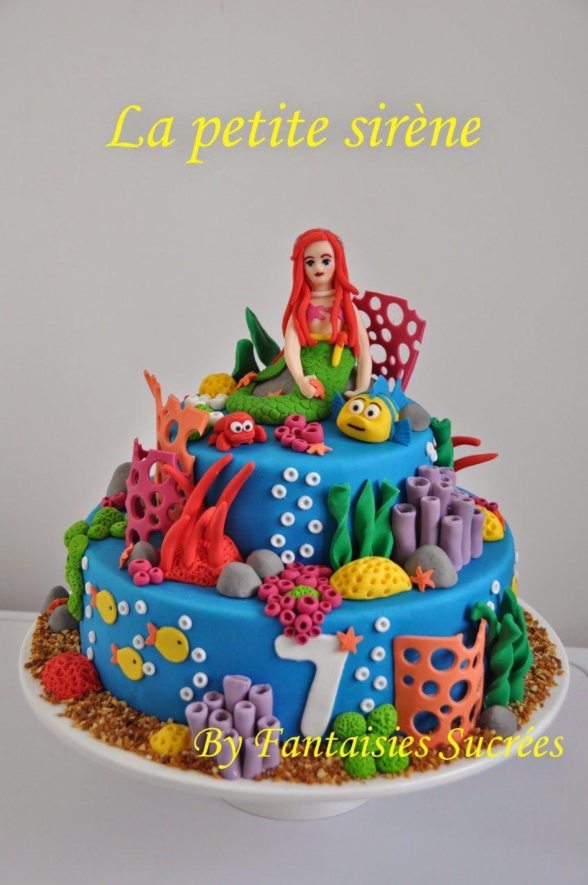 Fantaisies sucr es g teau anniversaire 3d disney la petite sir ne birthday cake sucre - Gateau anniversaire disney ...
