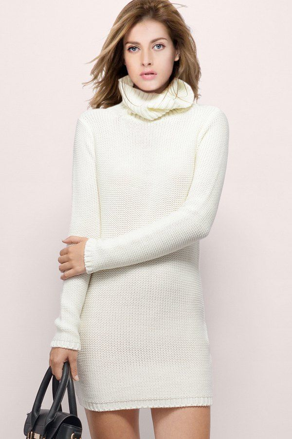 Solid Color Turtle Neck Long Sleeve Sweater Dress Cream White