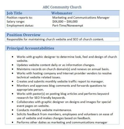 Sample Church Employee Job Descriptions church stuff Pinterest
