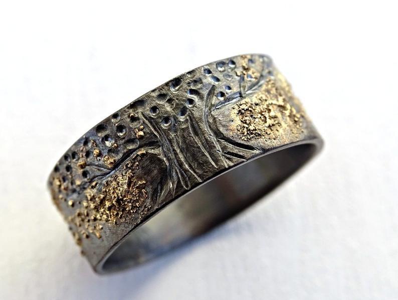 Unique Viking Ring Celtic Wedding Band Tree Of Life Ring Etsy In 2020 Celtic Wedding Bands Black Rings Celtic Wedding Rings