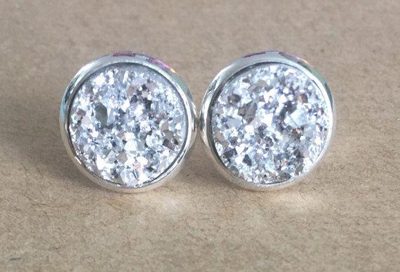 Silver Druzy Earrings Silaver Faux By Myadorableaccessory