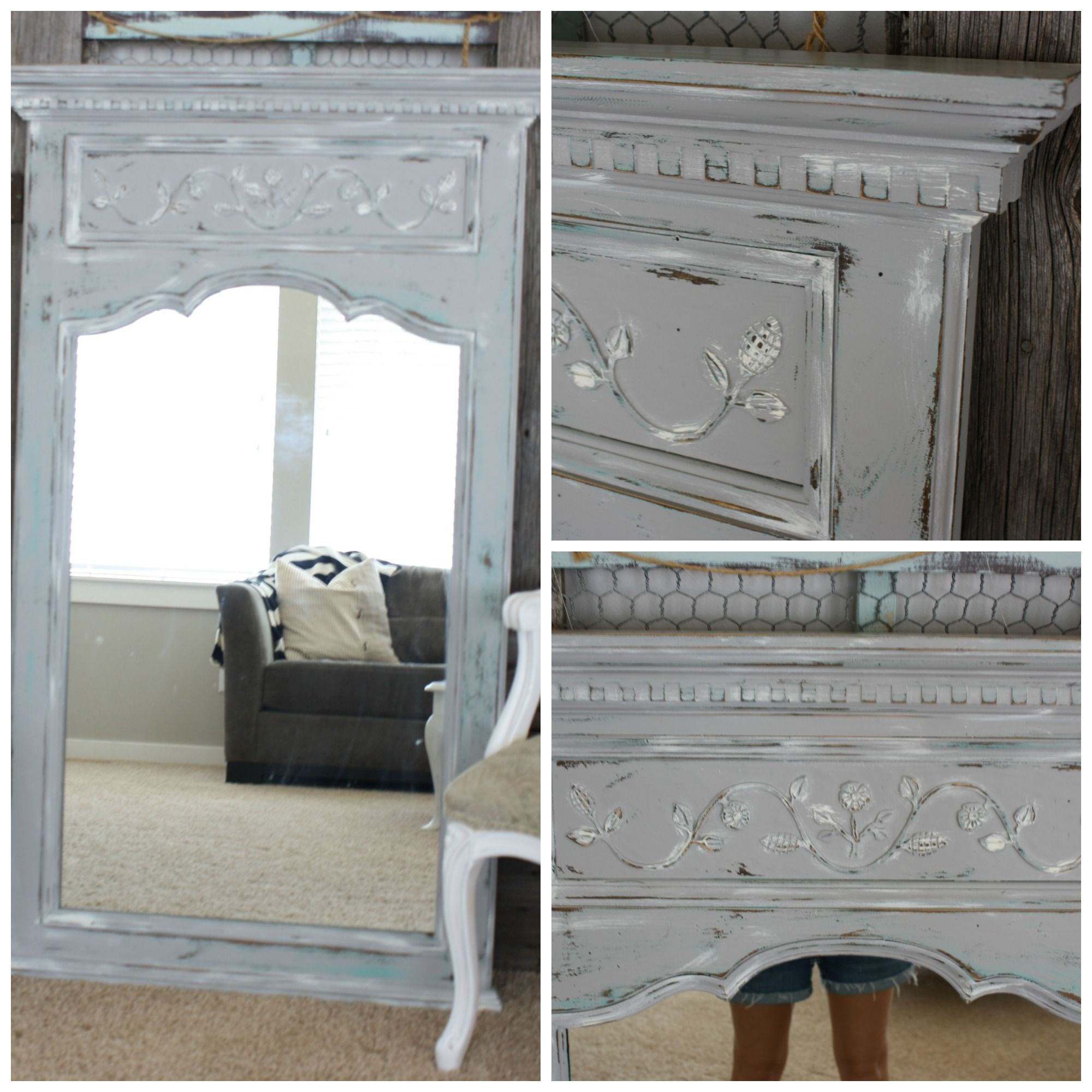 Distressed French Mirror #DIY #paintedfurniture   Www.countrychicpaint.com/ Blog