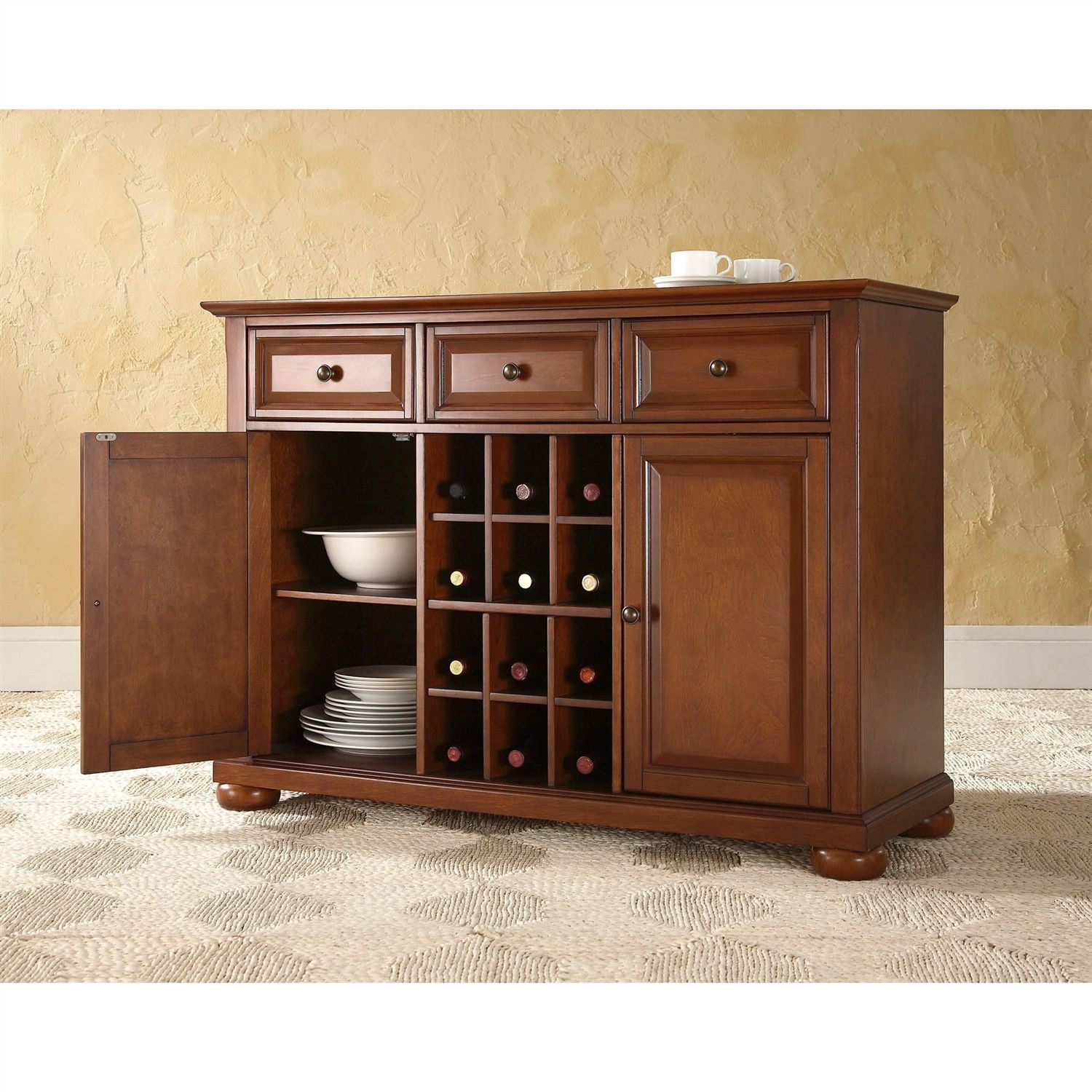 Room The Smart Design Of This Cherry Finish Sideboard Buffet Table Dining Storage Cabinet Generates Tons