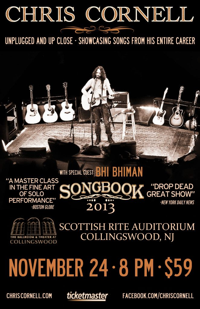 chris cornell songbook tour poster 2013 i wish he was coming somewhere close to me music i. Black Bedroom Furniture Sets. Home Design Ideas