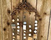 Hanging Iron Mirror Decor for Garden Decor or Party. mirror garden art. Great for wedding, party, garden or home decor. Mirror garland
