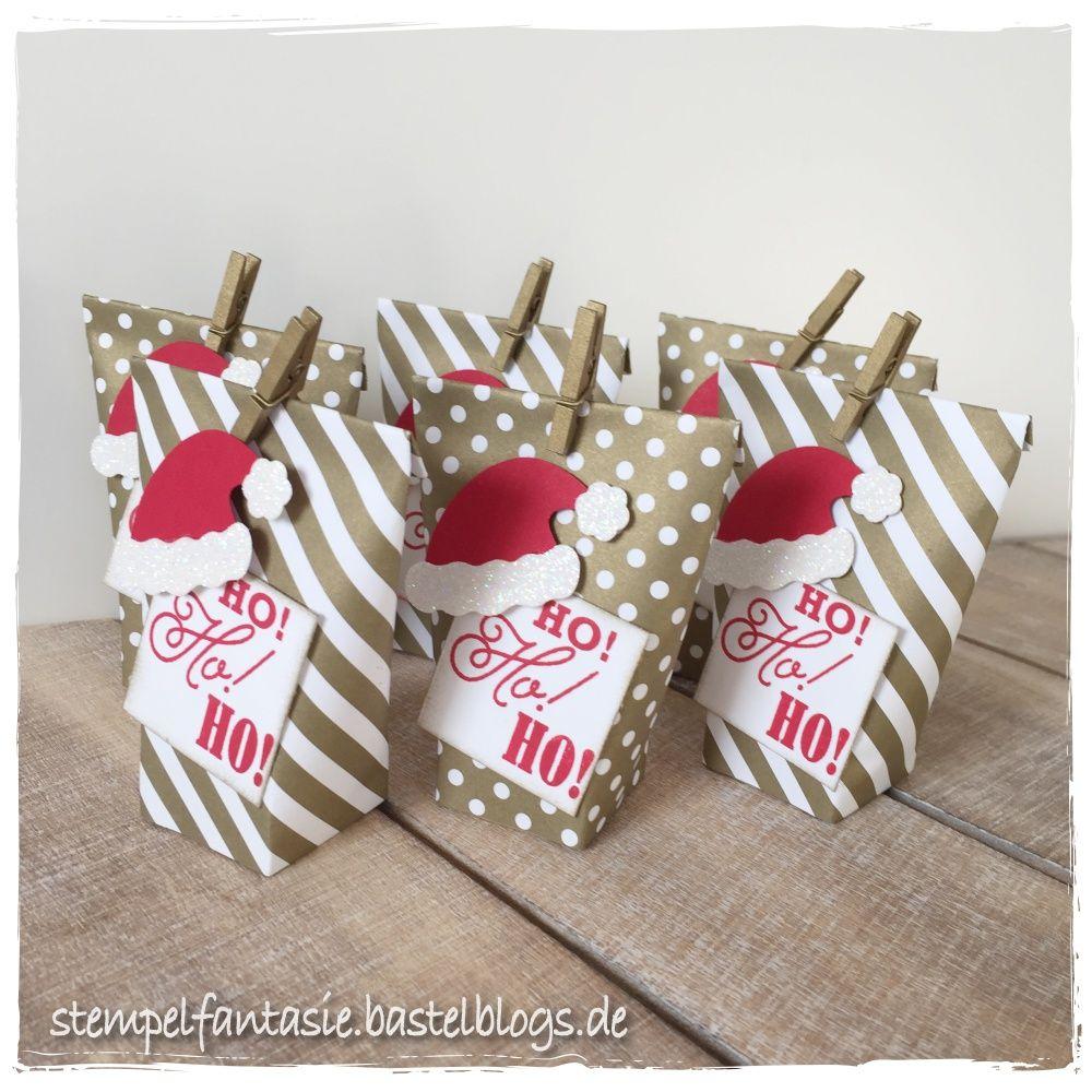 mini box in a bag mit weihnachtsm tze diy. Black Bedroom Furniture Sets. Home Design Ideas