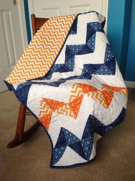 Modern Baby Boy Chevron Quilt Blue And Orange Crib Size Etsy Baby Boy Quilts Baby Boy Chevron Modern Boy Quilt