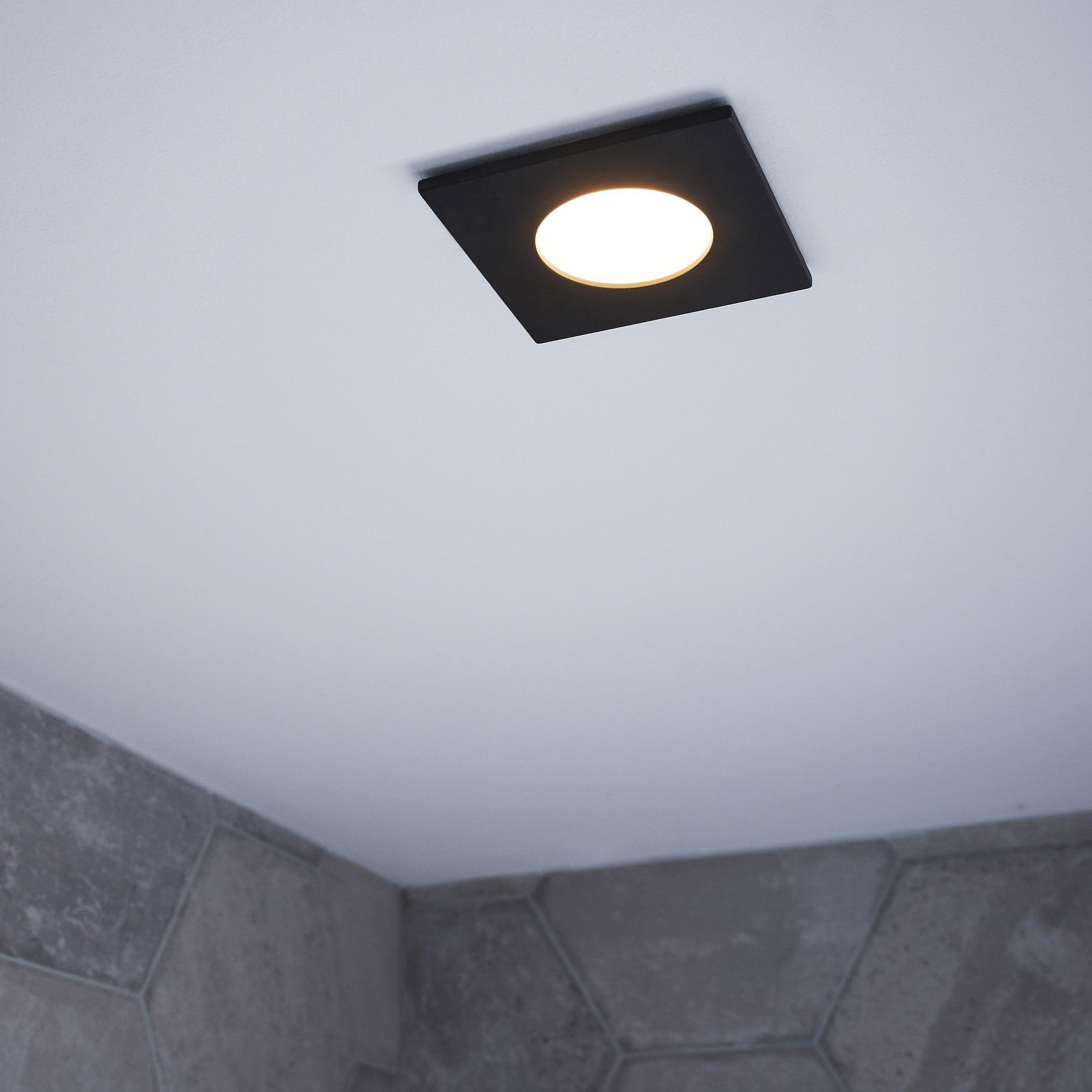 Kit 1 Spot A Encastrer Salle De Bains Lucik Led 4000k Inspire Carre Noir Led Spots Et Carre Noir