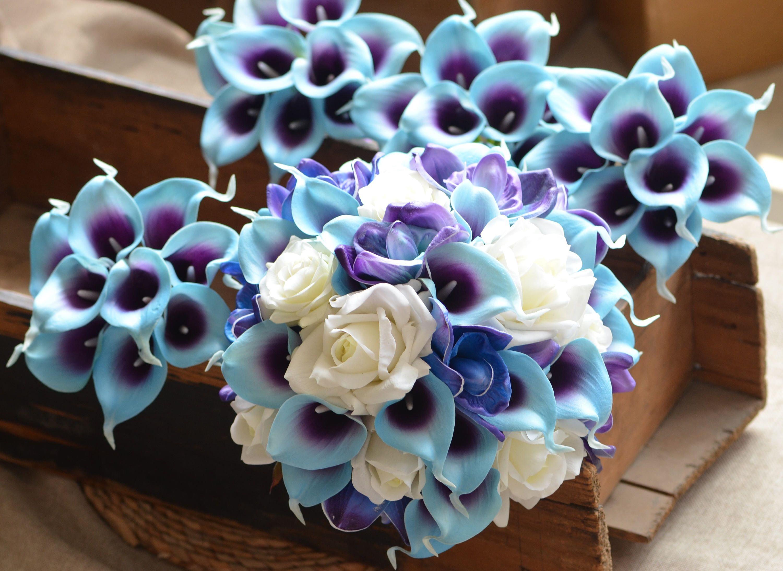 Blue purple orchids calla lilies bridal bouquets off white roses blue purple orchids calla lilies bridal bouquets off white roses real touch flowers bridal bouquets bridesmaids izmirmasajfo