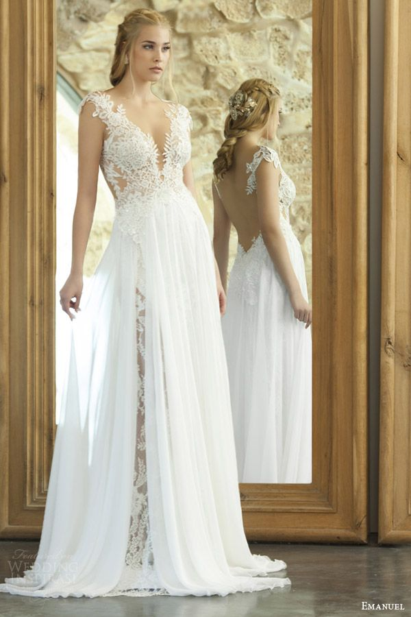 Great emanuel haute couture bridal sexy sheath wedding dress lace bodice illusion open back ethereal sheer