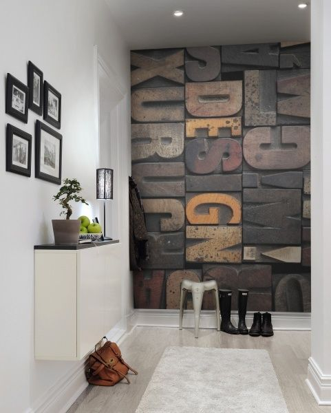 OMG Becky, look at her wall! Woodcut wall mural available at www - paneles para pared