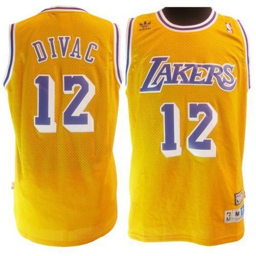50a98138a5e7 Lakers  12 Vlade Divac Yellow Throwback Stitched NBA Jersey