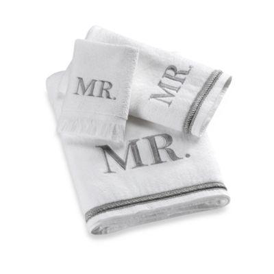 Buy Avanti Silver Block Monogram Mr Fingertip Towel From Bed