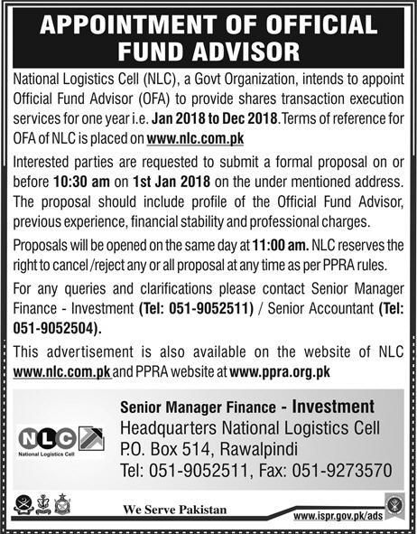 National Logistics Cell NLC Jobs 2017 In Rawalpindi For Official