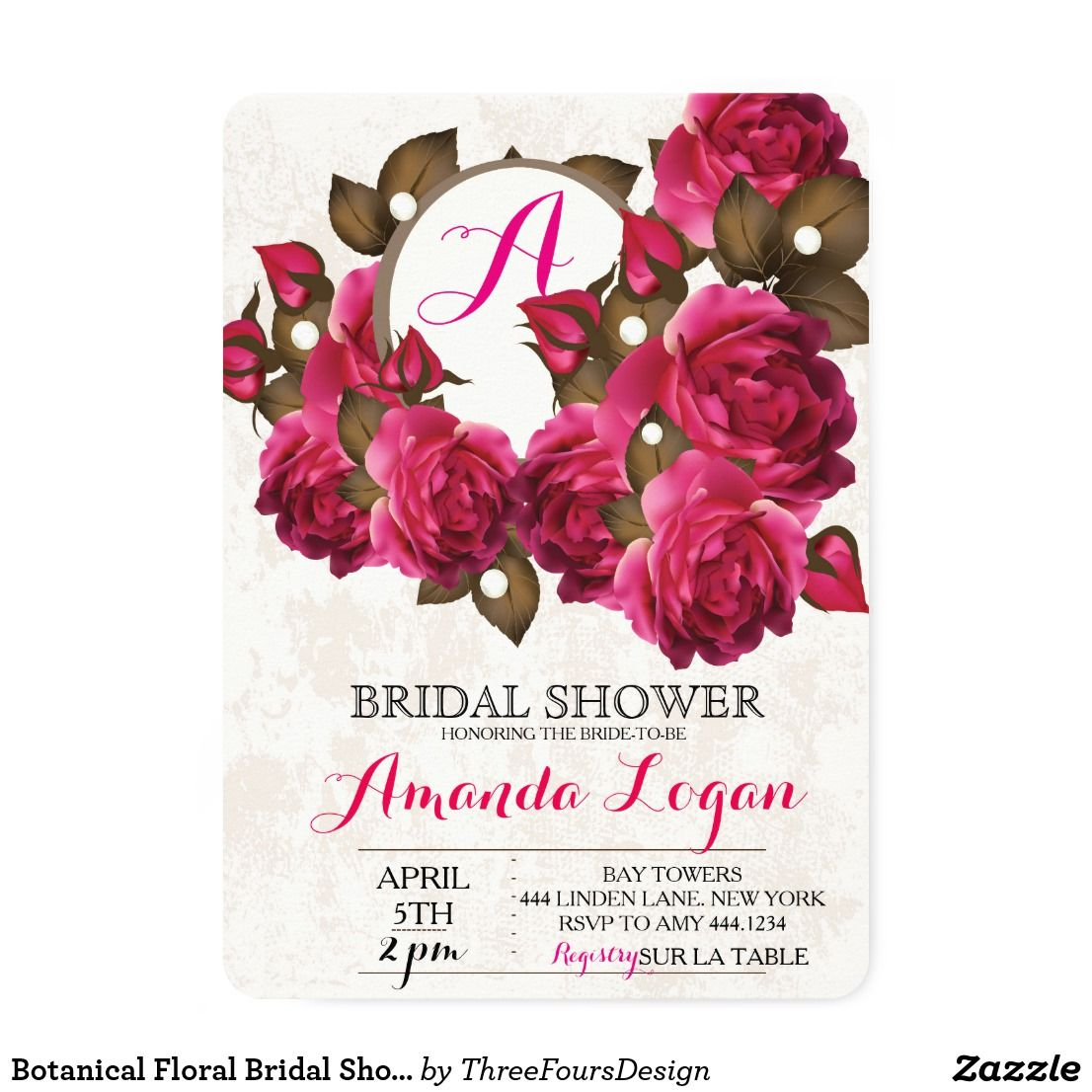 Botanical Floral Bridal Shower Invitations | Shower invitations ...