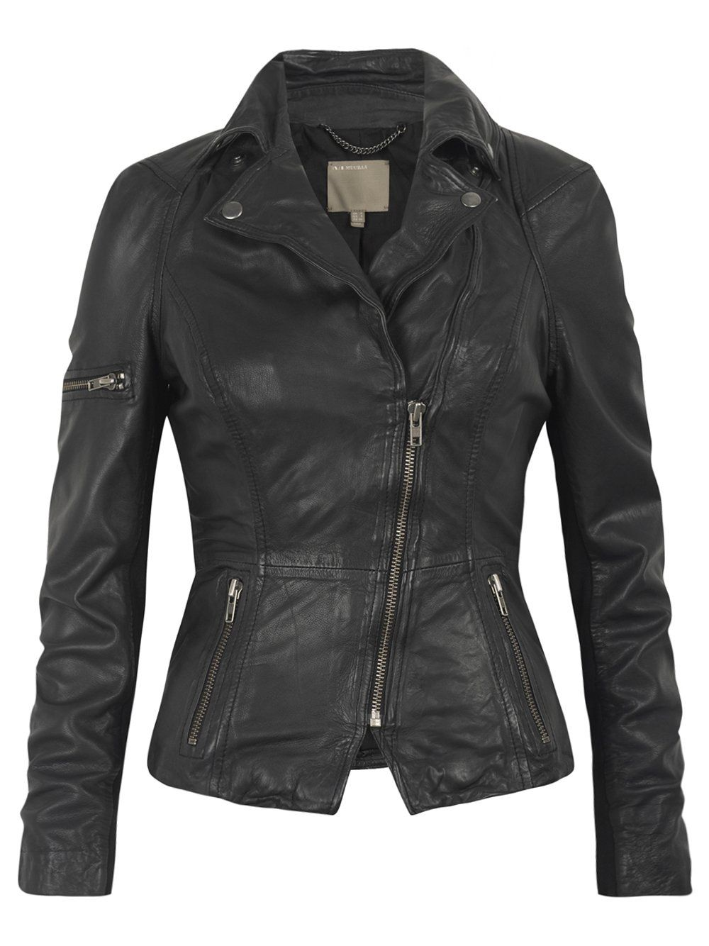 Black leather biker jacket, Leather biker jackets and Biker ...