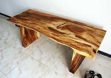 Wooden Natural Edge Bench   Traditional   Bedroom Benches   Overstock $500