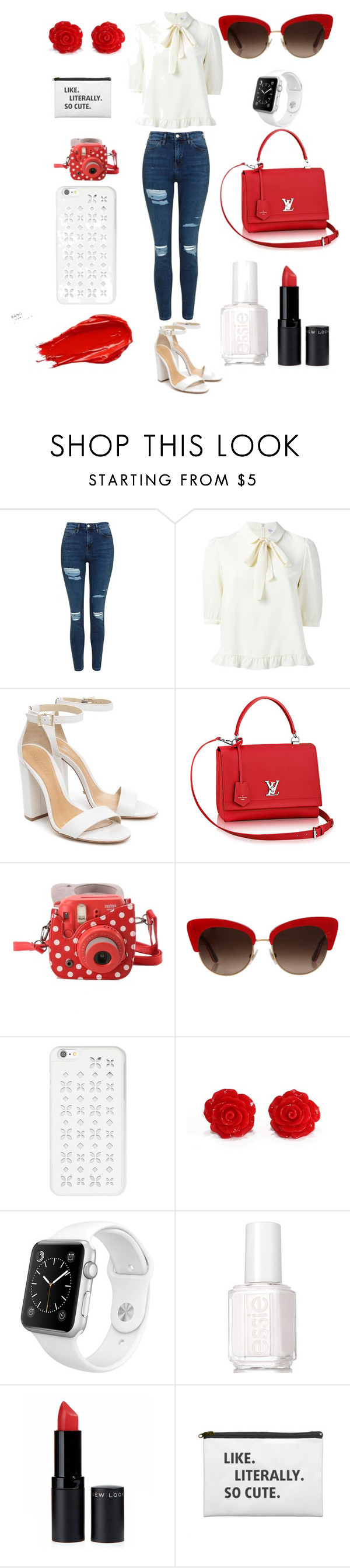 """Sans titre #5"" by paulinethevenin ❤ liked on Polyvore featuring Topshop, Schutz, Fujifilm, Dolce&Gabbana, MICHAEL Michael Kors, Apple, Urban Decay, Essie and New Look"