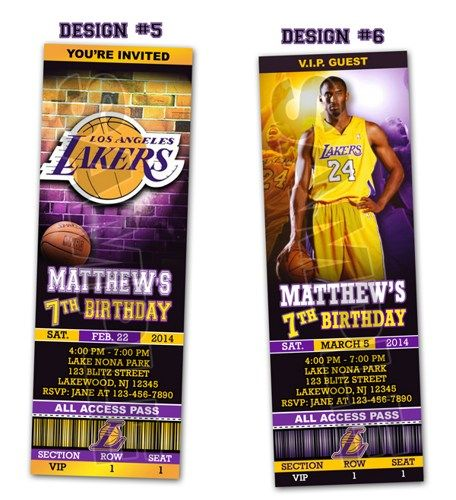 La Lakers Ticket Birthday Party Invitations - Printable | Shops