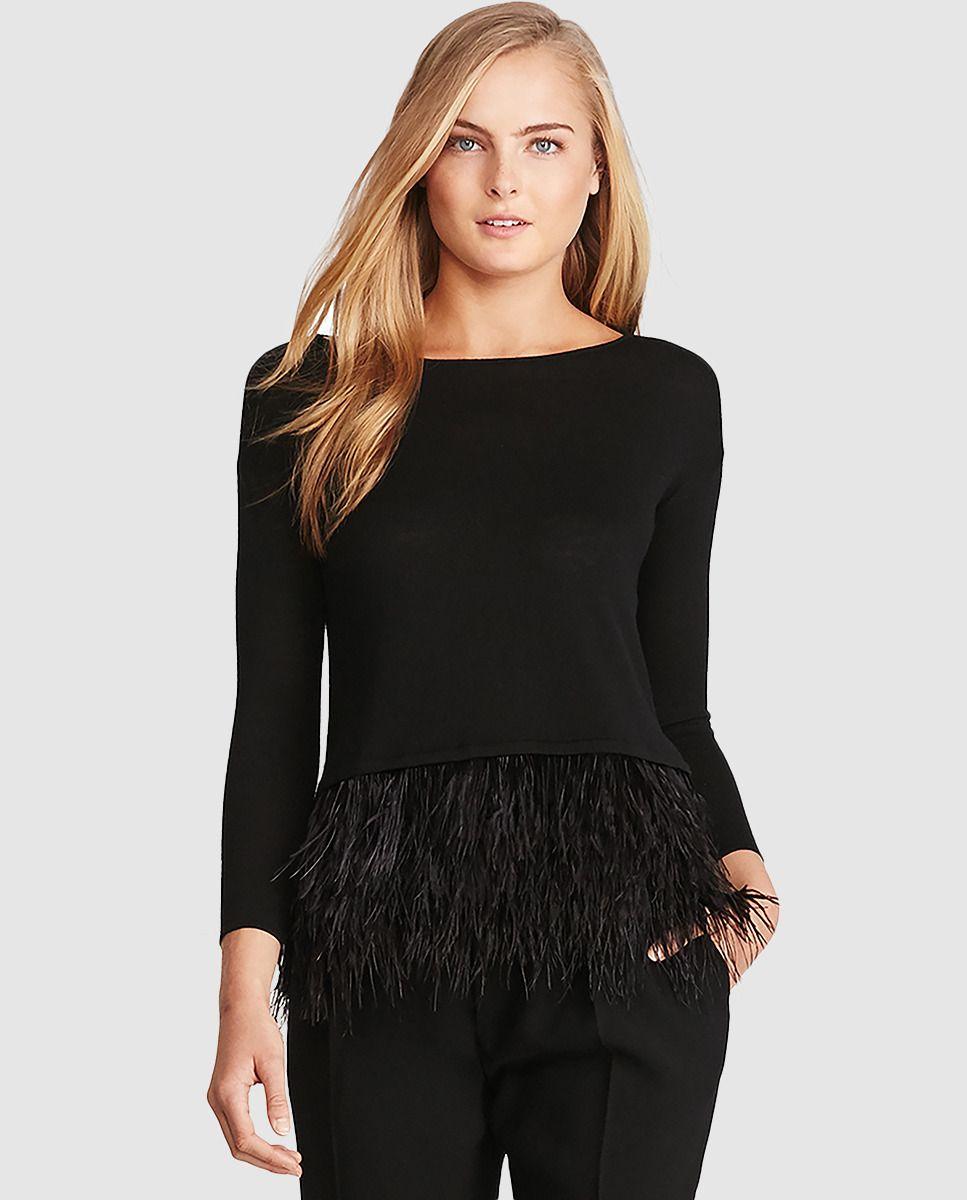 577b5f96 Blusa negra de mujer Polo Ralph Lauren con plumas   MODA en 2019 ...