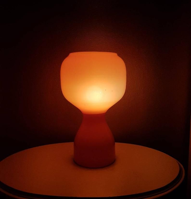 Years 70 Orange Glass Table Lamp Philips In The Style Of Murano Table Lamp Lamp Glass Table Lamp