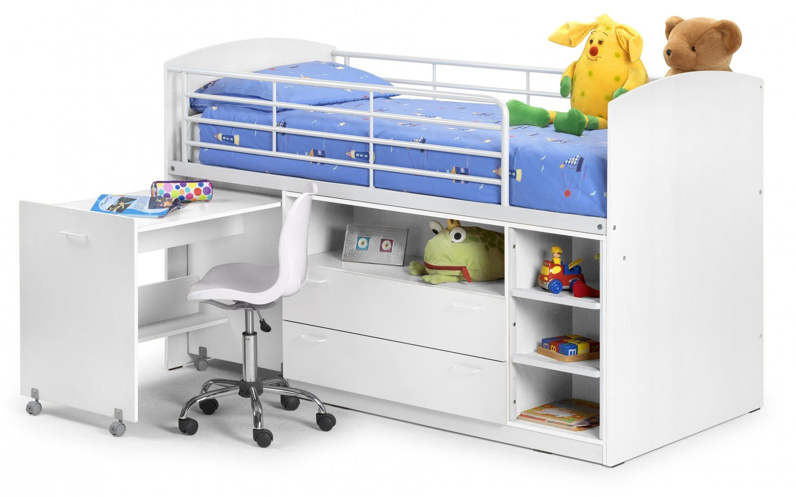 The Leo Sleeper White Bunk Bed Is A Contemporary Mid