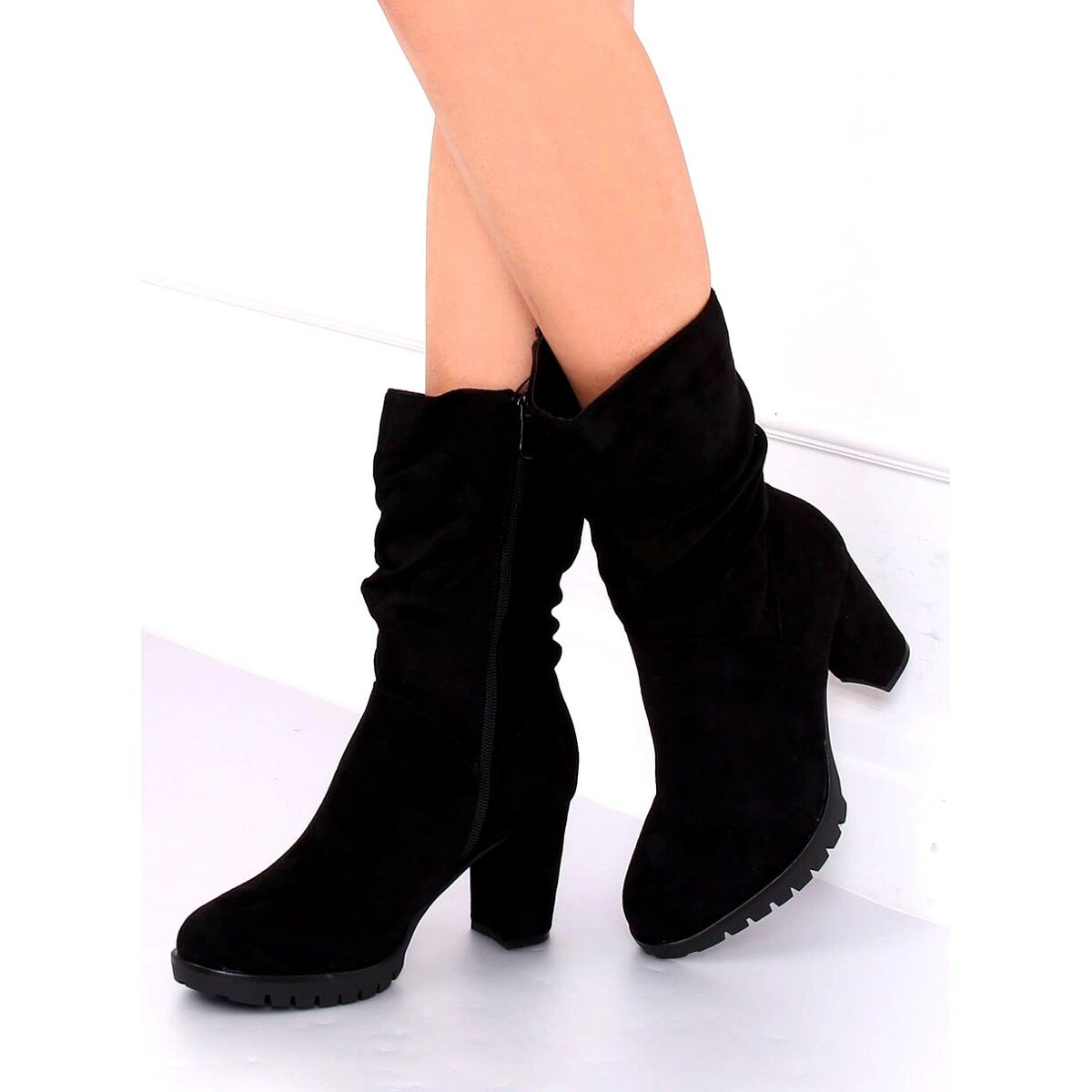 Botki Na Obcasie Czarne 7597 Gg Black Over Knee Boot Ankle Boot Knee Boots